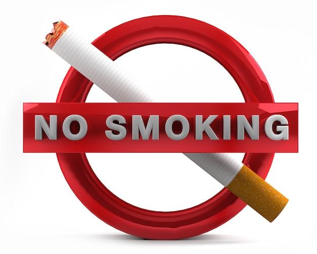 白い背景の3 dレンダリングに分離された禁煙の標識。 Premium写真