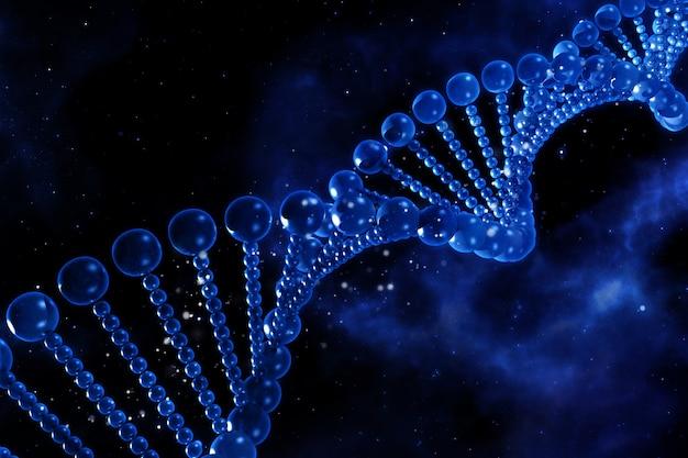 宇宙空を背景にDNA鎖を持つ3D医学的背景 無料写真