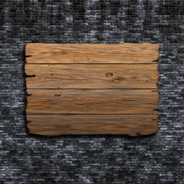 3Dのレンガの壁の上に古い木製のサインのレンダリング 無料写真