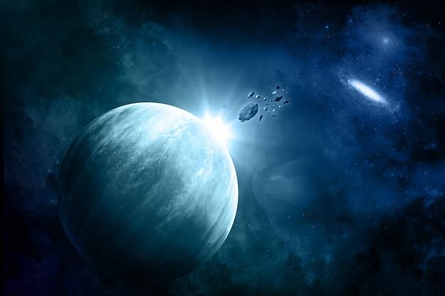 隕石と架空の宇宙背景 無料写真