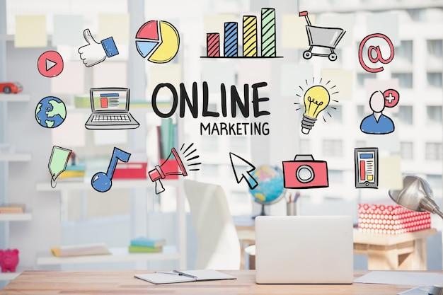 図面とマーケティングのオンライン戦略 無料写真