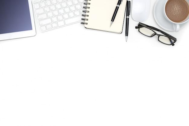 Канцелярские принадлежности с компьютерным планшетом на белом столе Бесплатные Фотографии