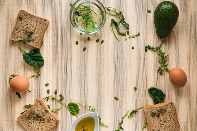パンと食材からのボーダー 無料写真