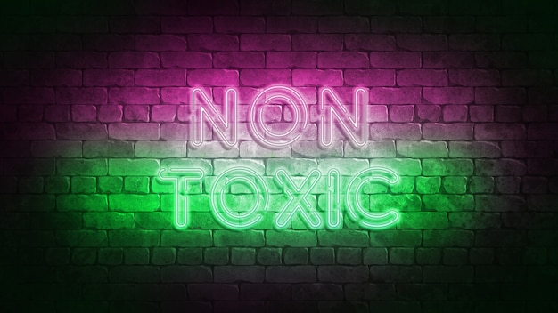 비 독성 네온 사인 3d 그림입니다. 무독성 디자인 네온 사인, 라이트 배너, 네온 간판, 야간 밝은 광고, 라이트 비문 프리미엄 사진