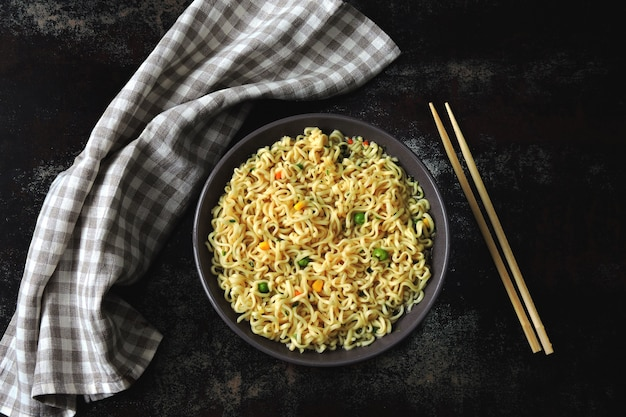 Noodle bowl. chinese noodles. top view Premium Photo