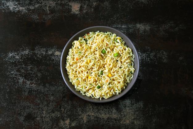 Noodle bowl. chinese noodles. top view Premium Photo