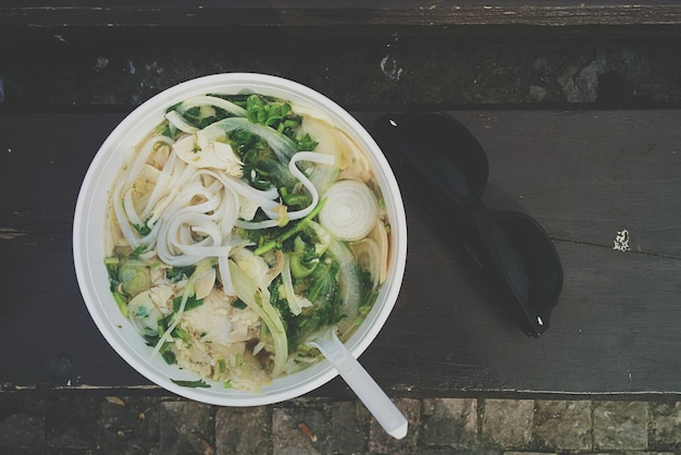 Noodle soup with bone broth Free Photo