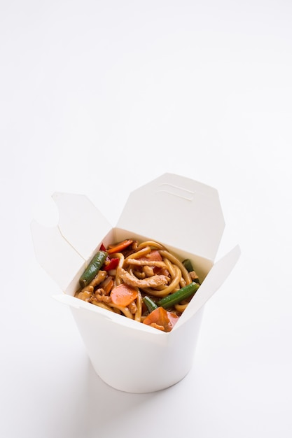 Noodles wok in white box Premium Photo