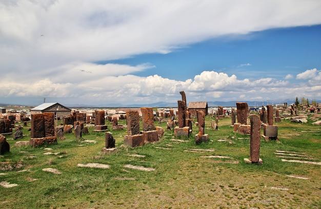 Noratus cemetery on sevan lake, armenia Premium Photo