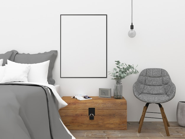 Nordic bedroom - wall art mockup Premium Photo