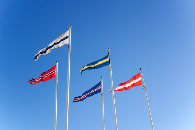 Nordic flags in the blue sky Premium Photo