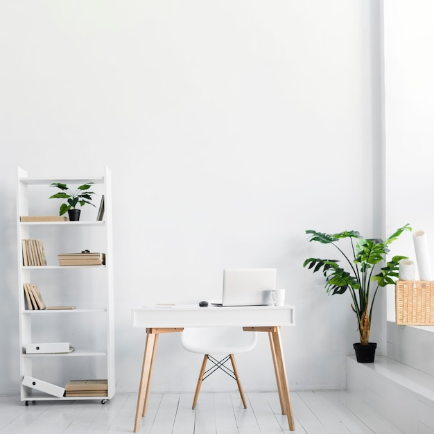 Nordic style office with desk and chair Premium Photo