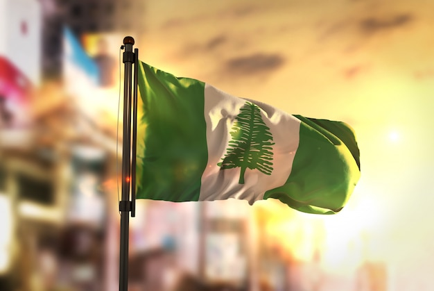 Norfolk island flag against city blurred background at sunrise backlight Premium Photo