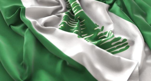 Norfolk island flag ruffled beautifully waving macro close-up shot Free Photo