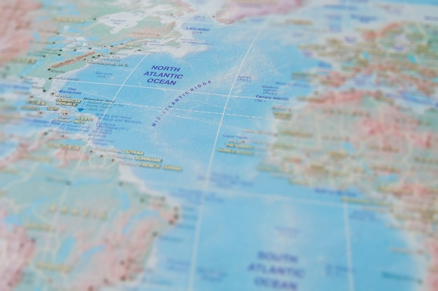 North atlantic ocean in close up on the map. focus on the name of ocean. vignetting effect Premium Photo