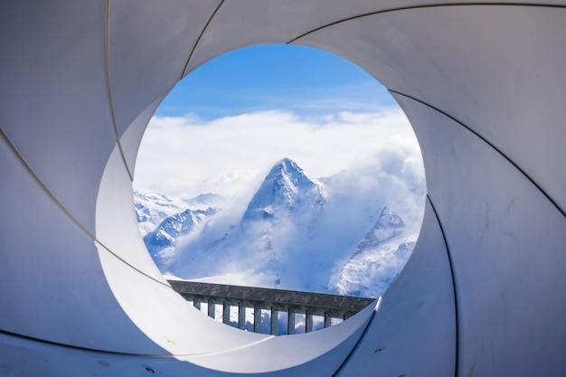 The north face of the eiger, seen from the schilthorn mountain near murren in switzerland Premium Photo
