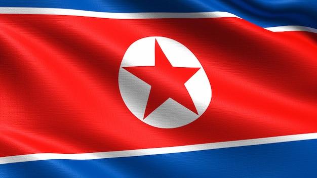 North korea flag, with waving fabric texture Premium Photo