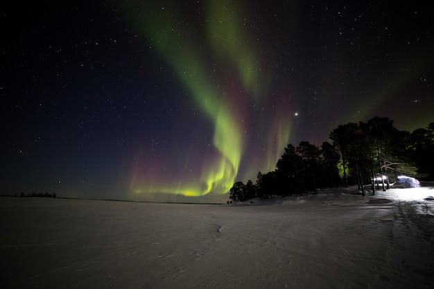 이나 리 호수, 라플란드, 핀란드의 오로라 프리미엄 사진