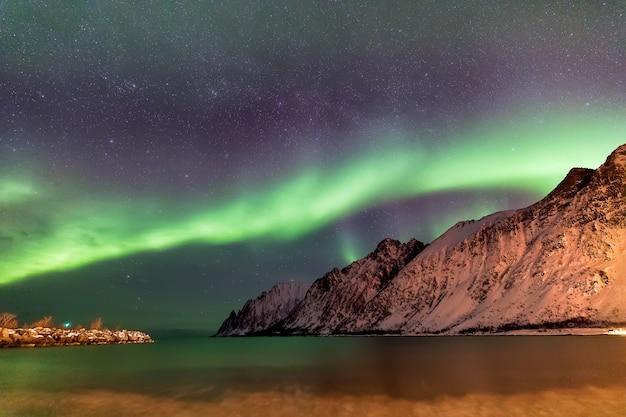 Ersfjord 해변 위에 오로라. 밤, 노르웨이 Senja 섬입니다. 유럽 프리미엄 사진