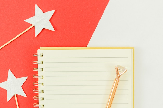 Notebook with birthday gift box Free Photo