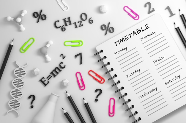 Notebook with timetable and science utencils Premium Photo