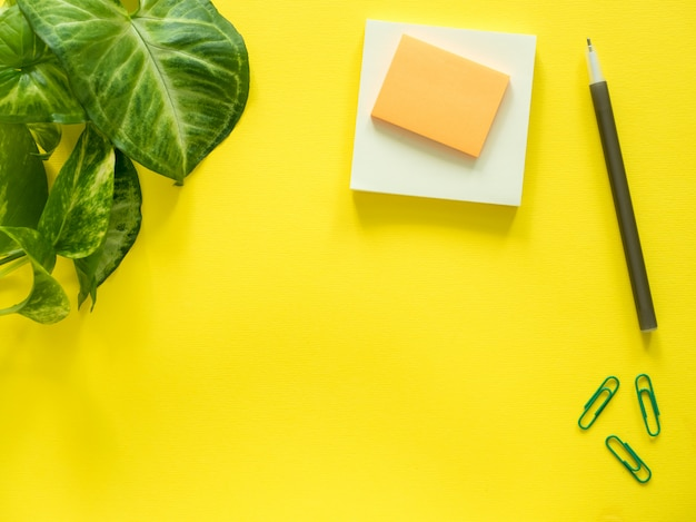 Notepad for notes, green plant leaves on yellow desktop, flat lay, copy space. Premium Photo