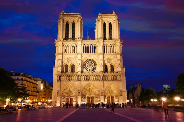 Notre dame cathedral sunset in paris france Premium Photo