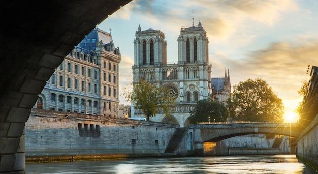 Notre dame de paris and seine river in paris, france Premium Photo