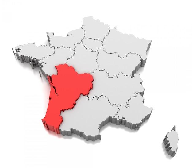 Nouvelle-aquitaine地方、フランスの地図 Premium写真