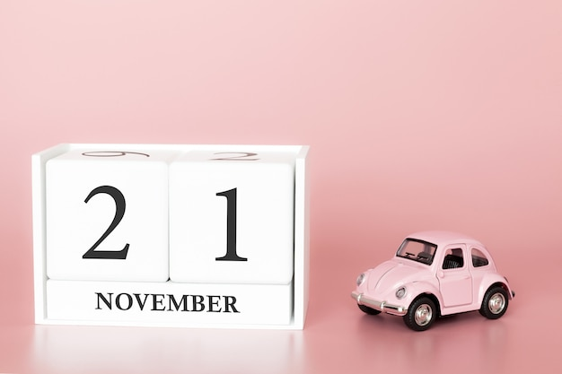 November 21st. day 21 of month. calendar cube with car Premium Photo