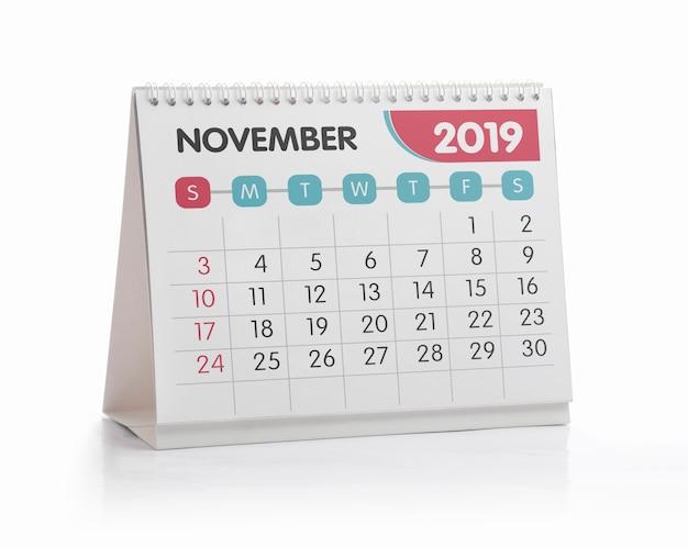 November white office calendar 2019 isolated on white Premium Photo
