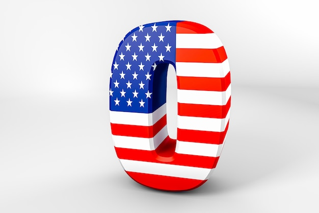 Number 0 with the american flag. 3d rendering - illustration Premium Photo
