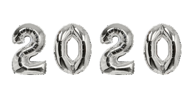 Number 2020 of silver balloons Premium Photo