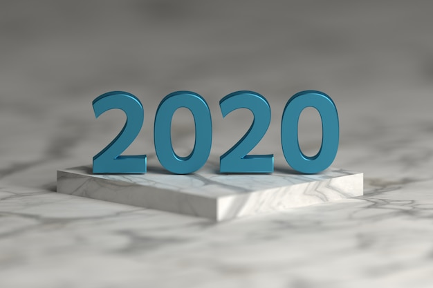 Number of 2020 year in shiny metallic blue texture over pedestal podium  made of marble. happy new year greeting card. Premium Photo
