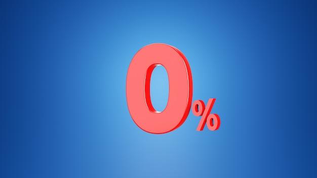 Укажите ноль процентов для концепции скидки 0% или 0% ндс. 3d на синем фоне. 3d визуализация Premium Фотографии