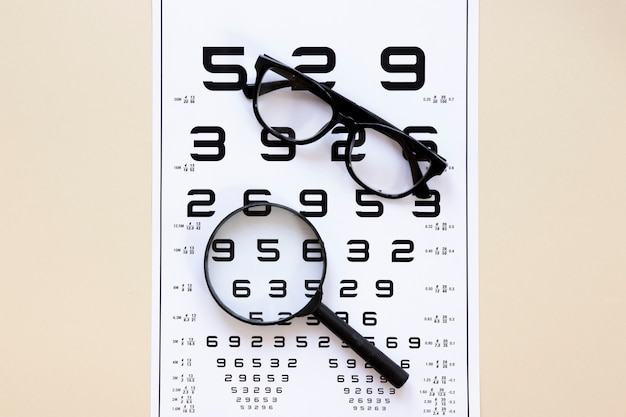 Numbers table with glasses and magnifier Free Photo