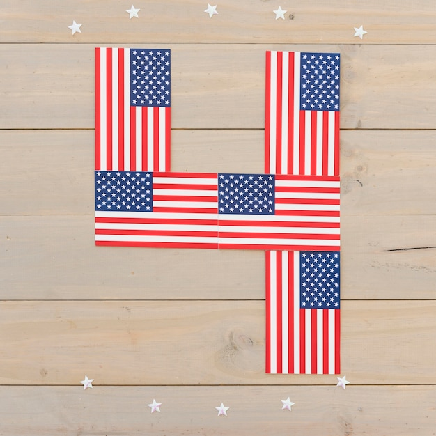 Numeral 4 of american flags Free Photo