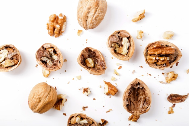 Nuts. walnuts on a white background Free Photo