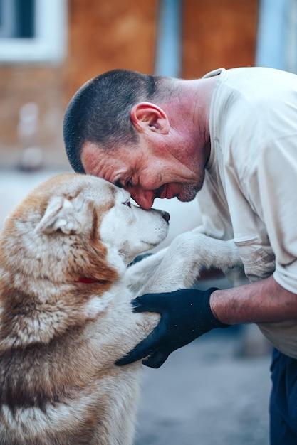 額、目o目、ケア友情の概念に赤いハスキー犬の額にぴったりの手袋で成熟した男 Premium写真