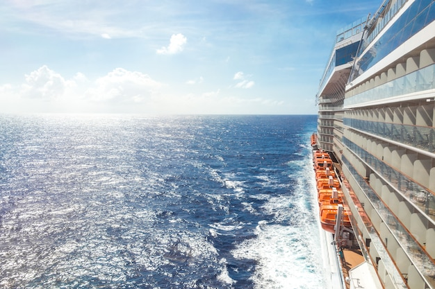 Ocean view from a cruise ship deck on a bright day Premium Photo