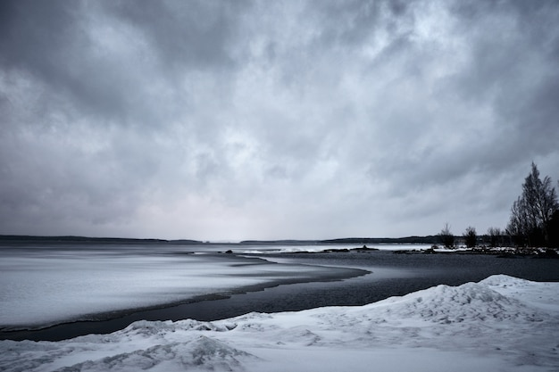 Ocean waves moving towards the shore under the gloomy sky Free Photo