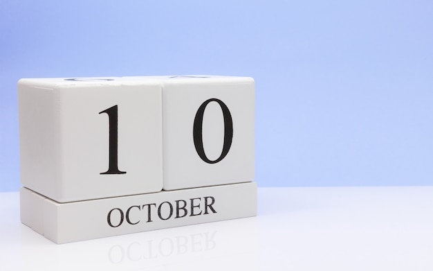 October 10st. day 10 of month, daily calendar on white table Premium Photo