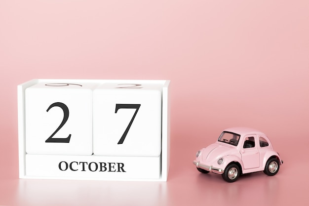 October 27th. day 27 of month. calendar cube with car Premium Photo