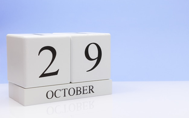 October 29st. day 29 of month, daily calendar on white table Premium Photo