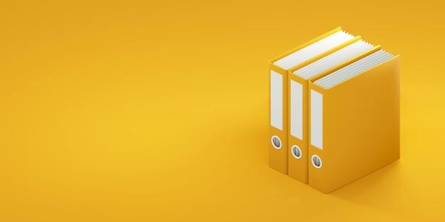 黄色の背景にofficeフォルダー。 3dレンダリング Premium写真