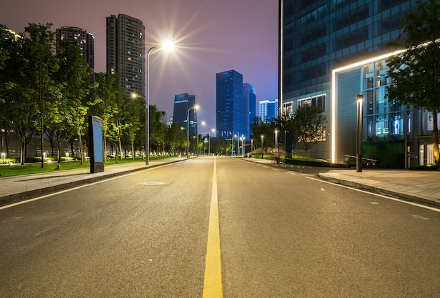Office buildings and highways at night in the financial center, chongqing, china Premium Photo