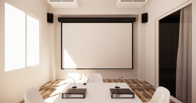 Office business - beautiful boardroom meeting room and conference table, modern style. 3d rendering Premium Photo