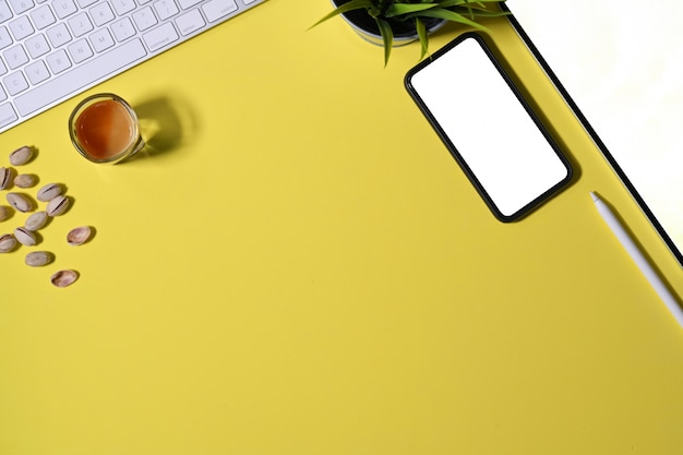 Office colourful desk with office supplies and copy space Premium Photo