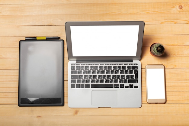 Office desk table with computer, supplies Premium Photo