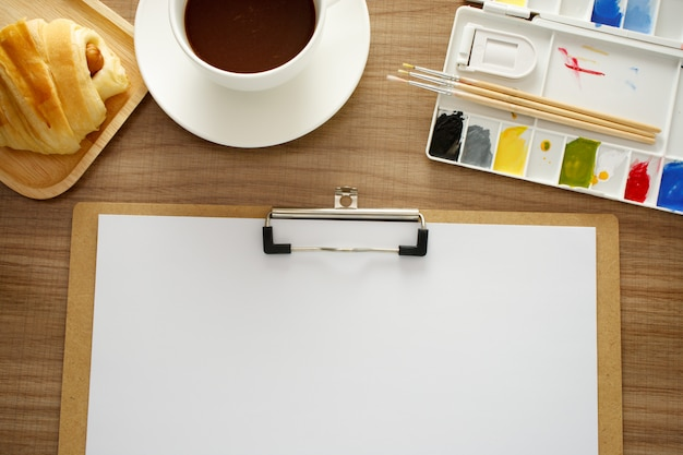 Office desk, working on a wooden table Premium Photo